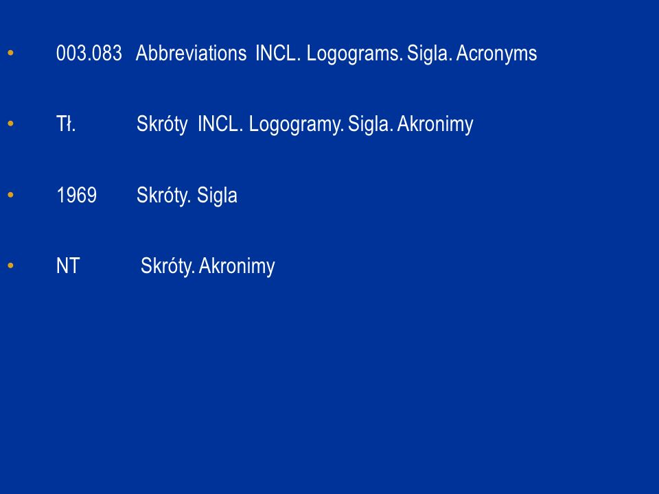 003.083 Abbreviations INCL. Logograms. Sigla. Acronyms Tł.