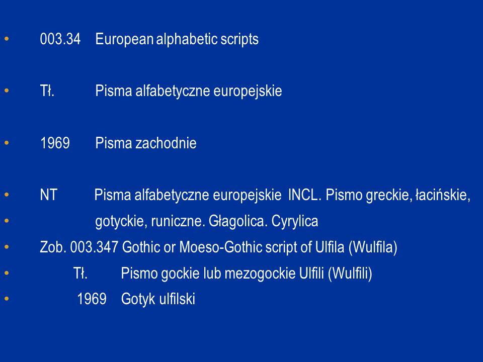 003.34 European alphabetic scripts Tł. Pisma alfabetyczne europejskie 1969 Pisma zachodnie NT Pisma alfabetyczne europejskie INCL. Pismo greckie, łaci