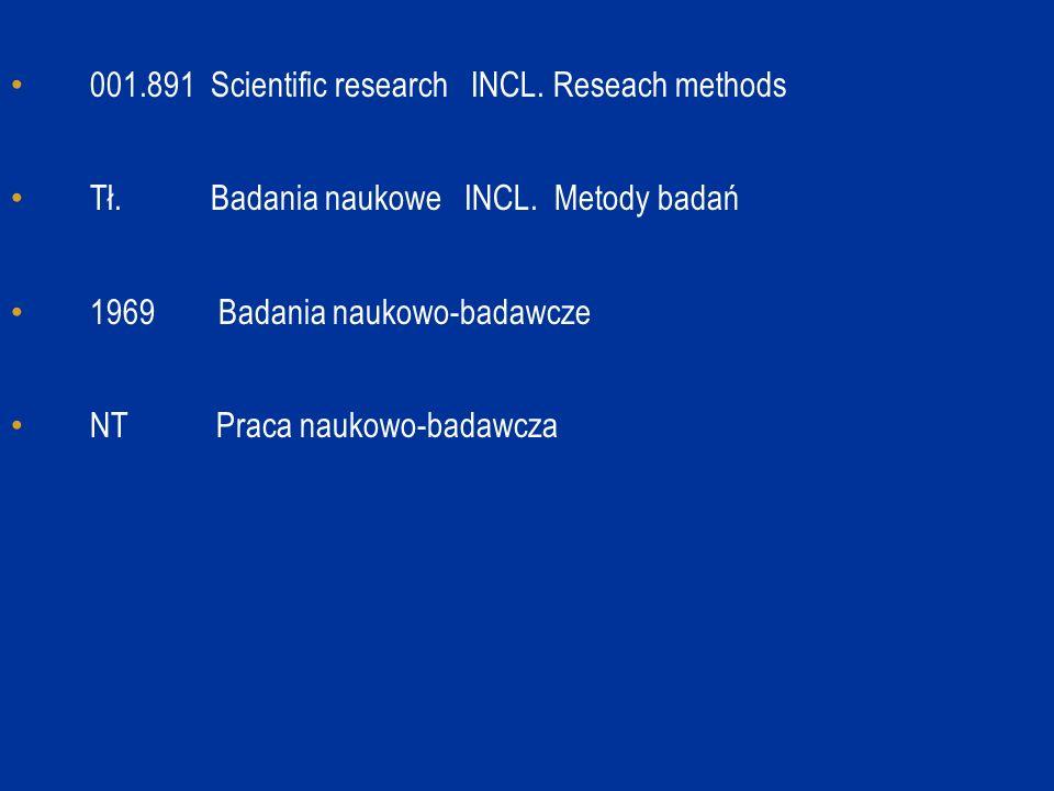 001.891 Scientific research INCL. Reseach methods Tł. Badania naukowe INCL. Metody badań 1969 Badania naukowo-badawcze NT Praca naukowo-badawcza