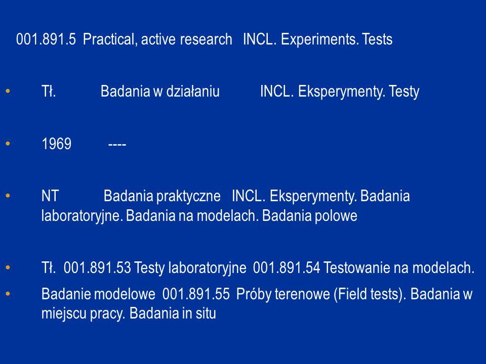 001.891.5 Practical, active research INCL. Experiments. Tests Tł. Badania w działaniu INCL. Eksperymenty. Testy 1969 ---- NT Badania praktyczne INCL.