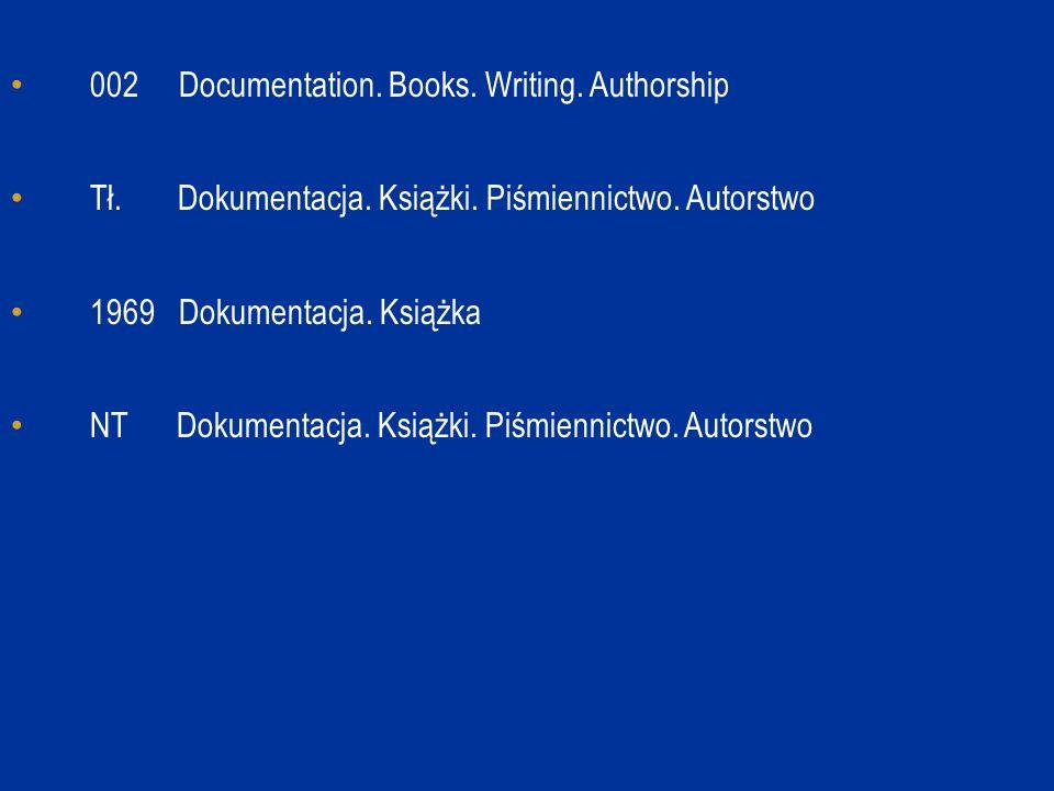 002 Documentation. Books. Writing. Authorship Tł. Dokumentacja. Książki. Piśmiennictwo. Autorstwo 1969 Dokumentacja. Książka NT Dokumentacja. Książki.