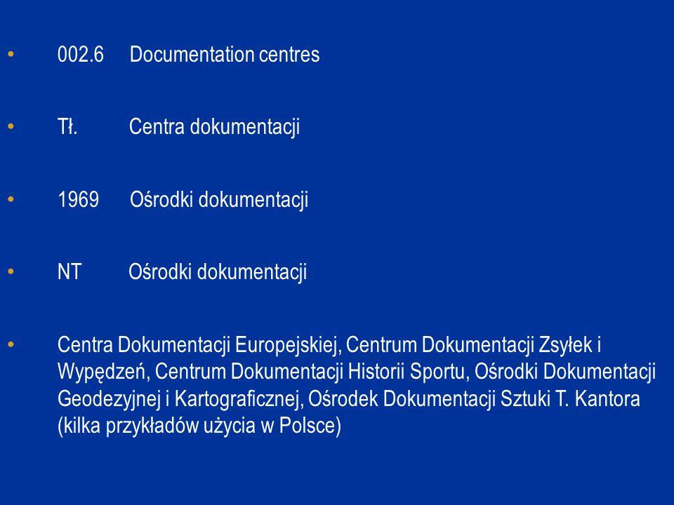 002.6 Documentation centres Tł. Centra dokumentacji 1969 Ośrodki dokumentacji NT Ośrodki dokumentacji Centra Dokumentacji Europejskiej, Centrum Dokume