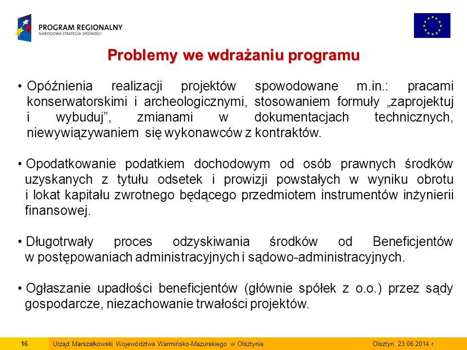 16Urząd Marszałkowski Województwa Warmińsko-Mazurskiego w Olsztynie Olsztyn, 23.06.2014 r.