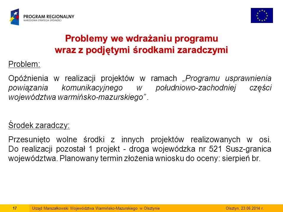 17Urząd Marszałkowski Województwa Warmińsko-Mazurskiego w Olsztynie Olsztyn, 23.06.2014 r.