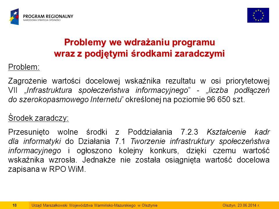 18Urząd Marszałkowski Województwa Warmińsko-Mazurskiego w Olsztynie Olsztyn, 23.06.2014 r.