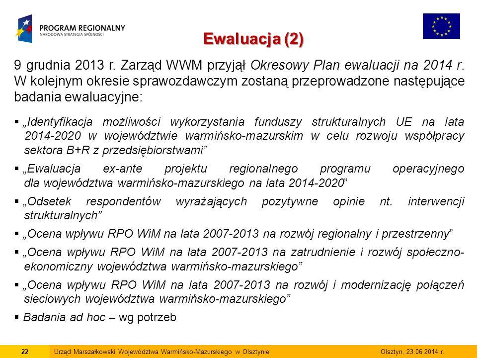22Urząd Marszałkowski Województwa Warmińsko-Mazurskiego w Olsztynie Olsztyn, 23.06.2014 r.