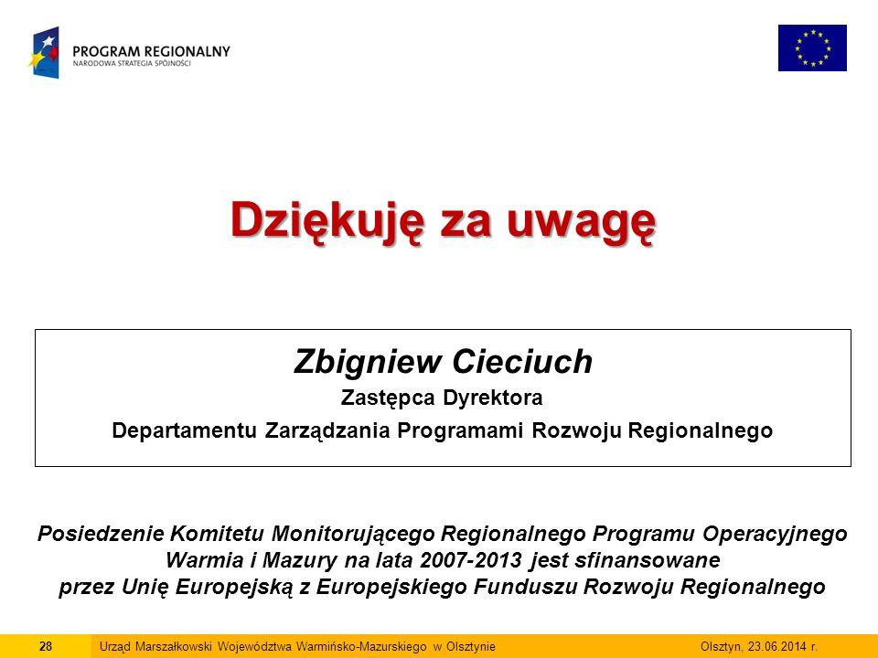 28Urząd Marszałkowski Województwa Warmińsko-Mazurskiego w Olsztynie Olsztyn, 23.06.2014 r.