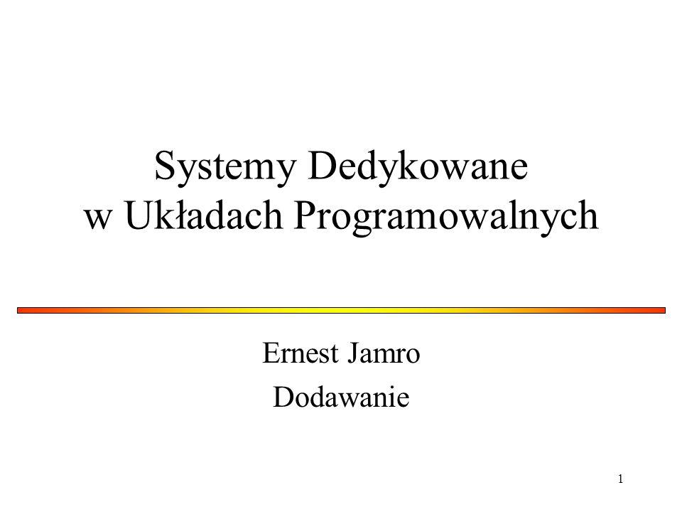 1 Systemy Dedykowane w Układach Programowalnych Ernest Jamro Dodawanie