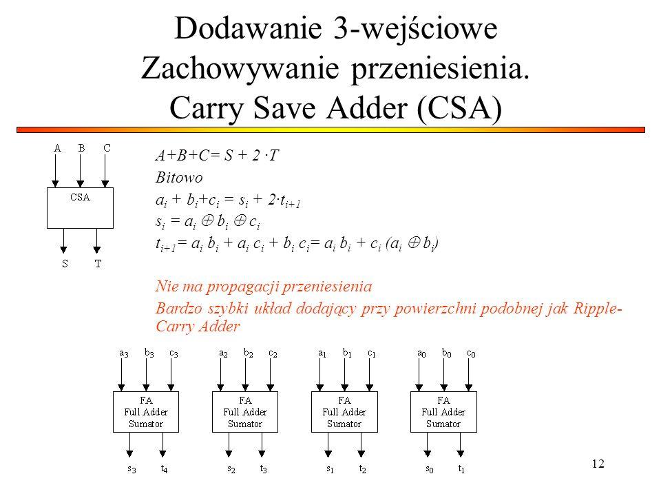 12 Dodawanie 3-wejściowe Zachowywanie przeniesienia. Carry Save Adder (CSA) A+B+C= S + 2 ·T Bitowo a i + b i +c i = s i + 2·t i+1 s i = a i  b i  c