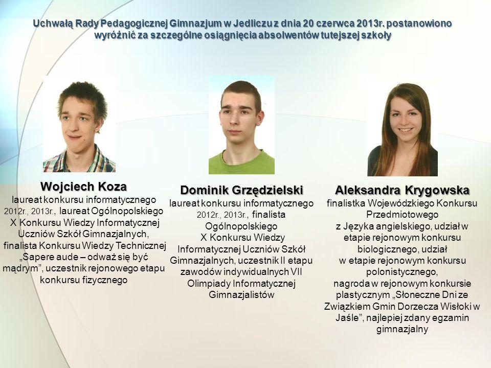Uchwałą Rady Pedagogicznej Gimnazjum w Jedliczu z dnia 20 czerwca 2013r. postanowiono wyróżnić za szczególne osiągnięcia absolwentów tutejszej szkoły