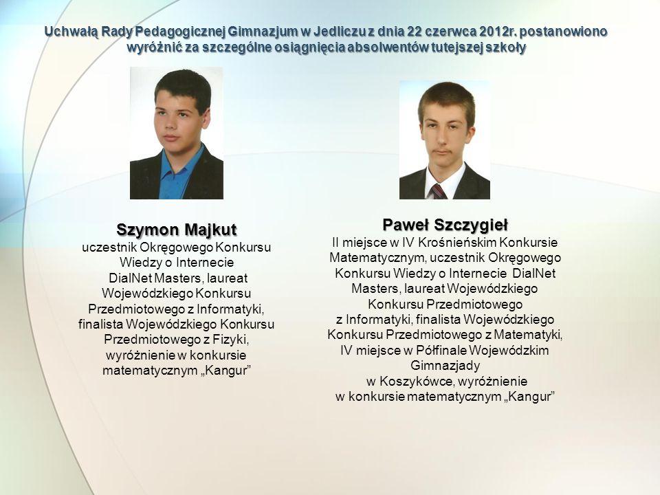 Uchwałą Rady Pedagogicznej Gimnazjum w Jedliczu z dnia 22 czerwca 2012r. postanowiono wyróżnić za szczególne osiągnięcia absolwentów tutejszej szkoły