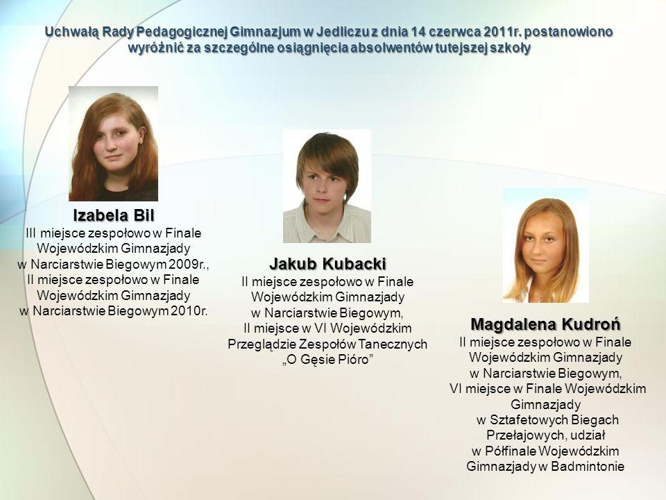 Uchwałą Rady Pedagogicznej Gimnazjum w Jedliczu z dnia 14 czerwca 2011r. postanowiono wyróżnić za szczególne osiągnięcia absolwentów tutejszej szkoły