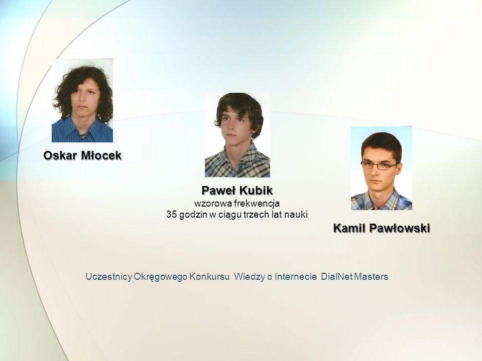 Uczestnicy Okręgowego Konkursu Wiedzy o Internecie DialNet Masters Oskar Młocek Paweł Kubik wzorowa frekwencja 35 godzin w ciągu trzech lat nauki Kami
