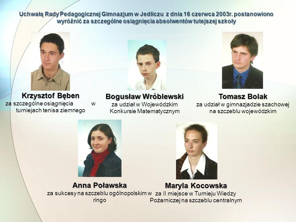 Uchwałą Rady Pedagogicznej Gimnazjum w Jedliczu z dnia 16 czerwca 2003r. postanowiono wyróżnić za szczególne osiągnięcia absolwentów tutejszej szkoły