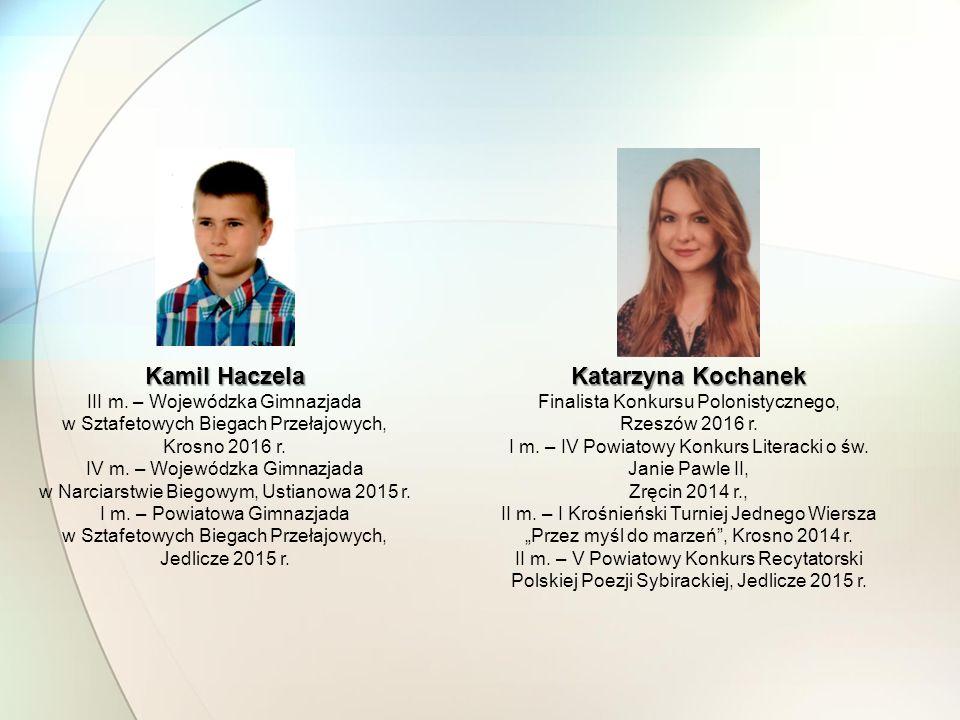 Katarzyna Kochanek Finalista Konkursu Polonistycznego, Rzeszów 2016 r. I m. – IV Powiatowy Konkurs Literacki o św. Janie Pawle II, Zręcin 2014 r., II