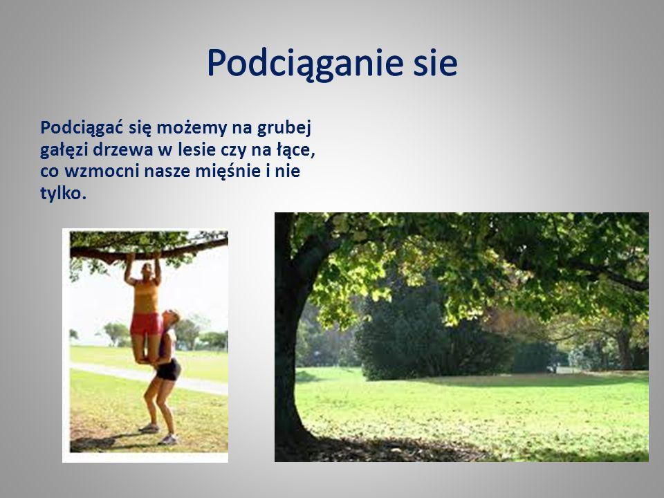 Podciągać się możemy na grubej gałęzi drzewa w lesie czy na łące, co wzmocni nasze mięśnie i nie tylko.