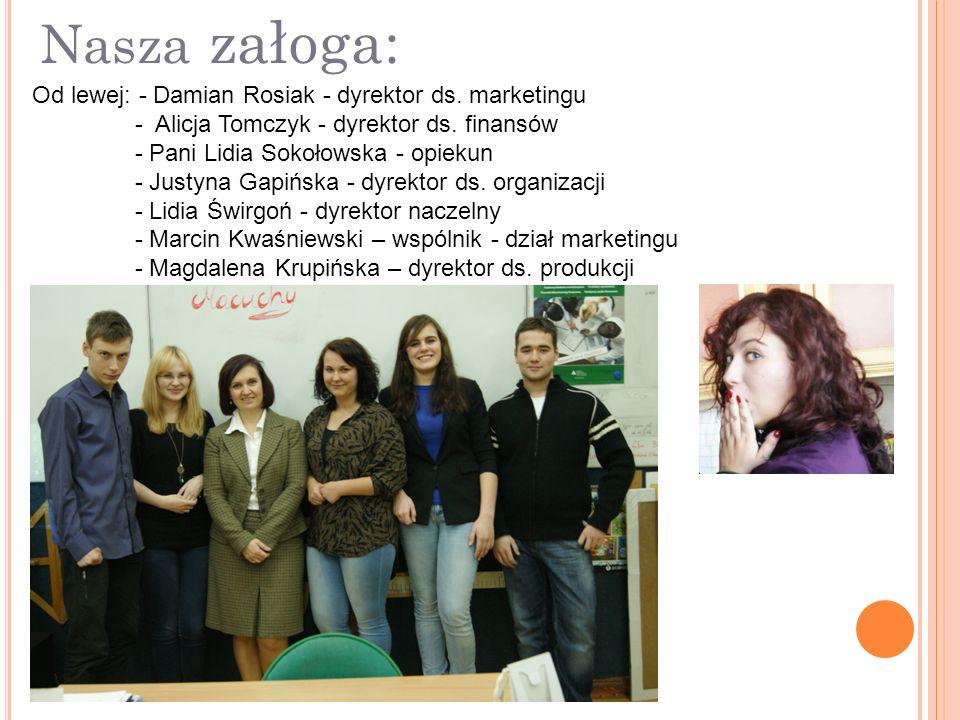 Nasza załoga: Od lewej: - Damian Rosiak - dyrektor ds.