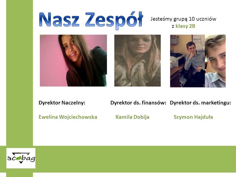 Jesteśmy grupą 10 uczniów z klasy 2B Dyrektor Naczelny: Dyrektor ds. finansów: Dyrektor ds. marketingu: Ewelina Wojciechowska Kamila Dobija Szymon Haj
