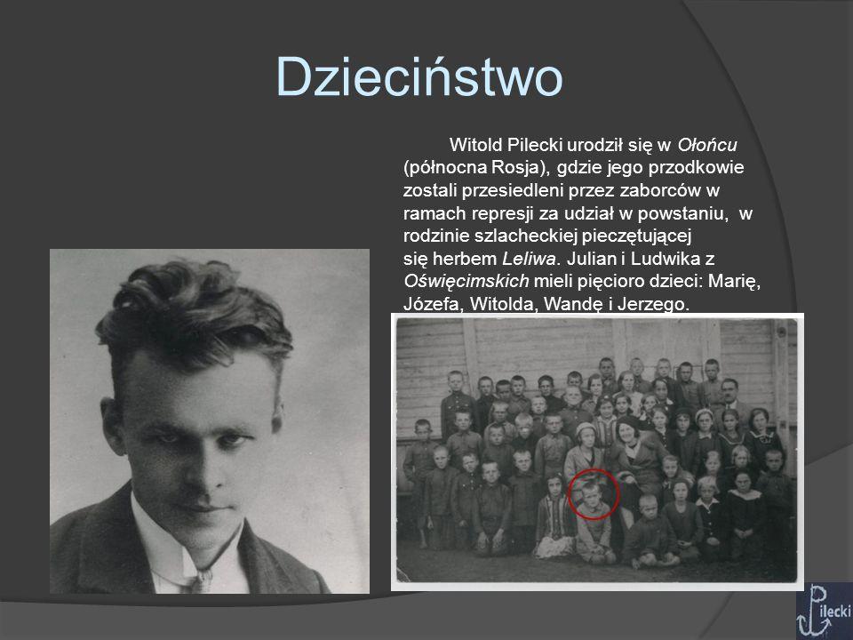 Dzieciństwo Witold Pilecki urodził się w Ołońcu (północna Rosja), gdzie jego przodkowie zostali przesiedleni przez zaborców w ramach represji za udział w powstaniu, w rodzinie szlacheckiej pieczętującej się herbem Leliwa.