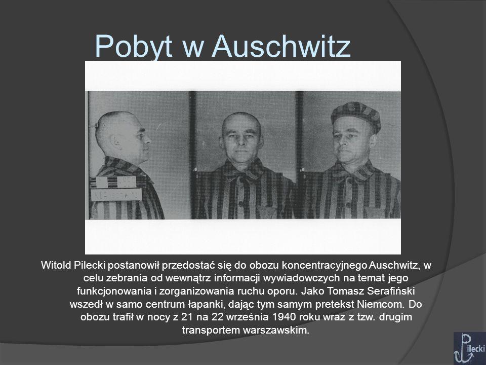 Pobyt w Auschwitz Witold Pilecki postanowił przedostać się do obozu koncentracyjnego Auschwitz, w celu zebrania od wewnątrz informacji wywiadowczych na temat jego funkcjonowania i zorganizowania ruchu oporu.