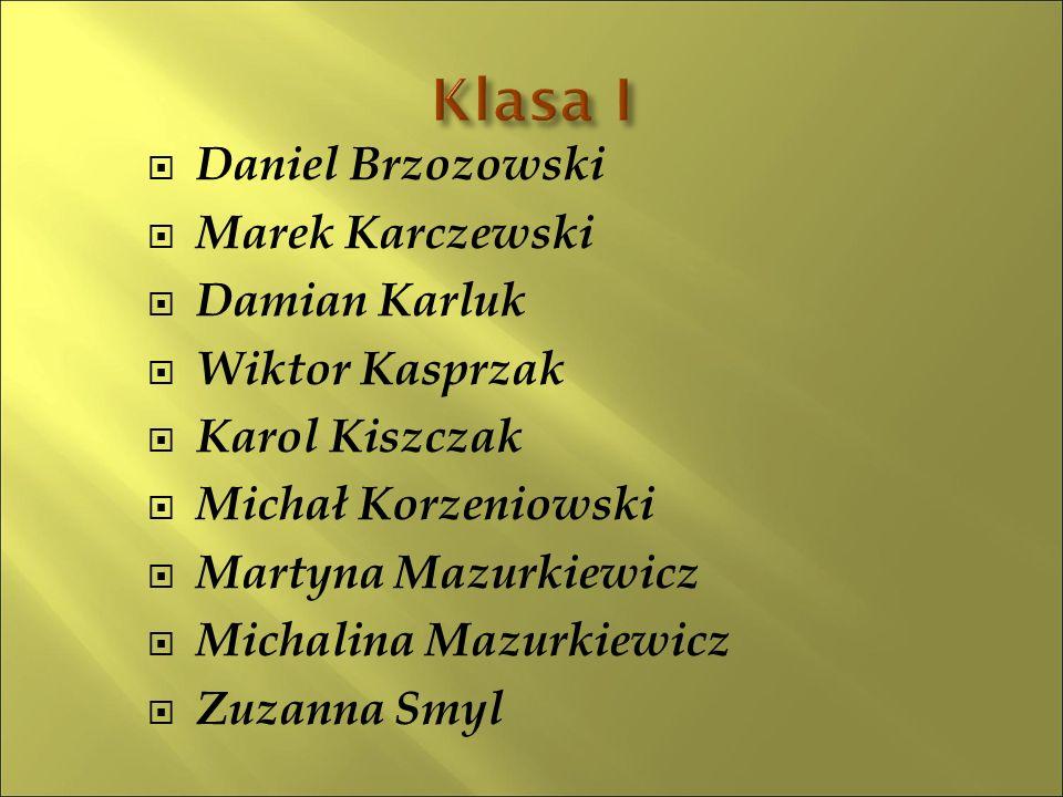 Daniel Brzozowski  Marek Karczewski  Damian Karluk  Wiktor Kasprzak  Karol Kiszczak  Michał Korzeniowski  Martyna Mazurkiewicz  Michalina Maz