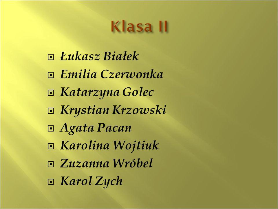  Łukasz Białek  Emilia Czerwonka  Katarzyna Golec  Krystian Krzowski  Agata Pacan  Karolina Wojtiuk  Zuzanna Wróbel  Karol Zych