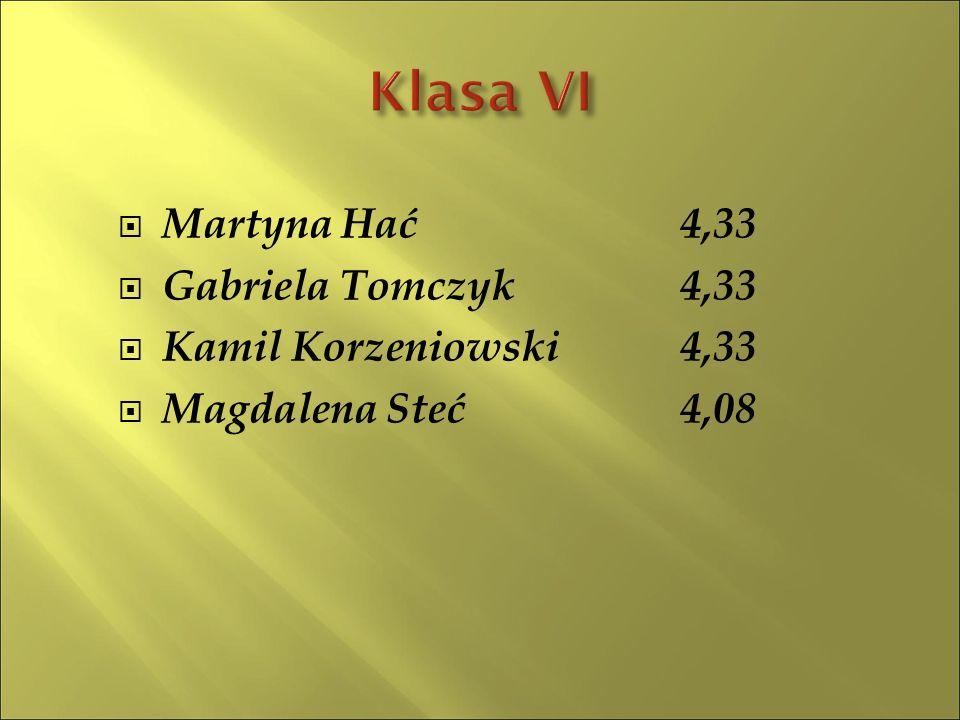 KlasaŚrednia Liczba uczniów IV3,9816 V3,7610 VI3,6110