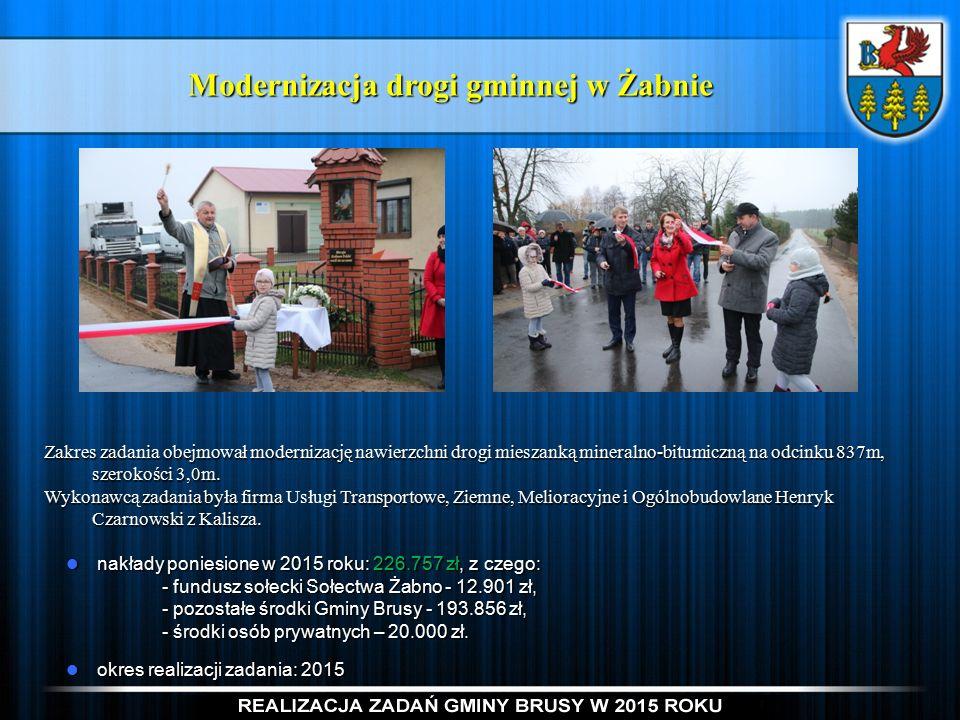 Modernizacja drogi gminnej w Żabnie Zakres zadania obejmował modernizację nawierzchni drogi mieszanką mineralno-bitumiczną na odcinku 837m, szerokości 3,0m.