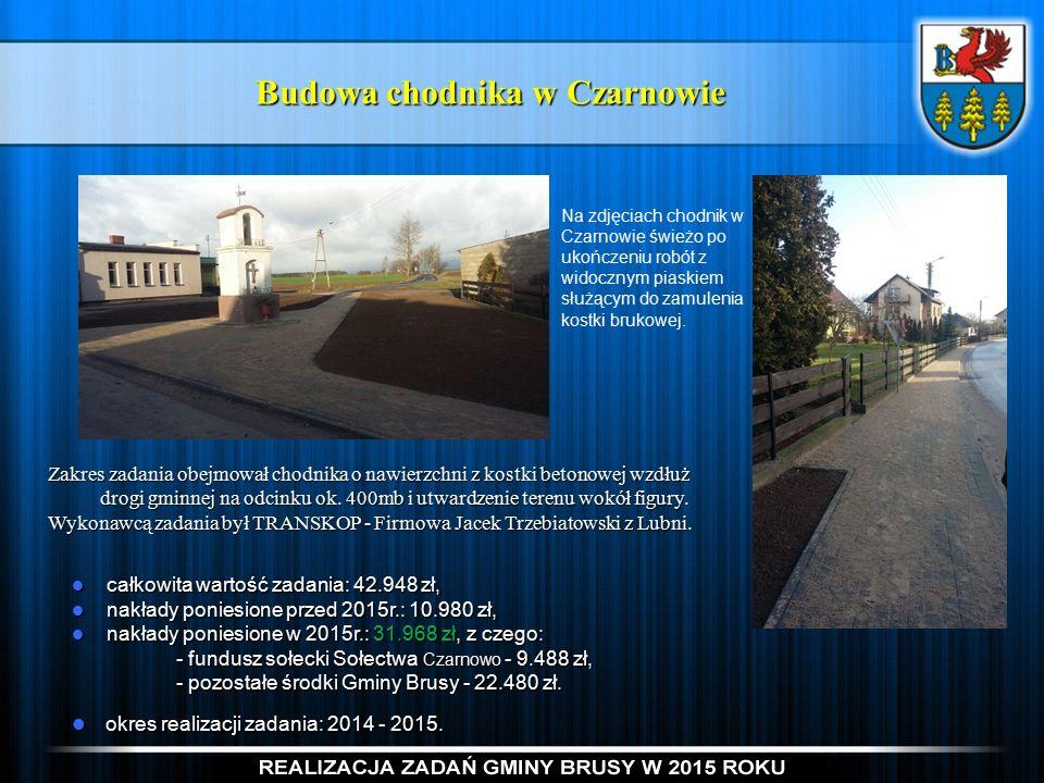 Budowa chodnika w Czarnowie Zakres zadania obejmował chodnika o nawierzchni z kostki betonowej wzdłuż drogi gminnej na odcinku ok.