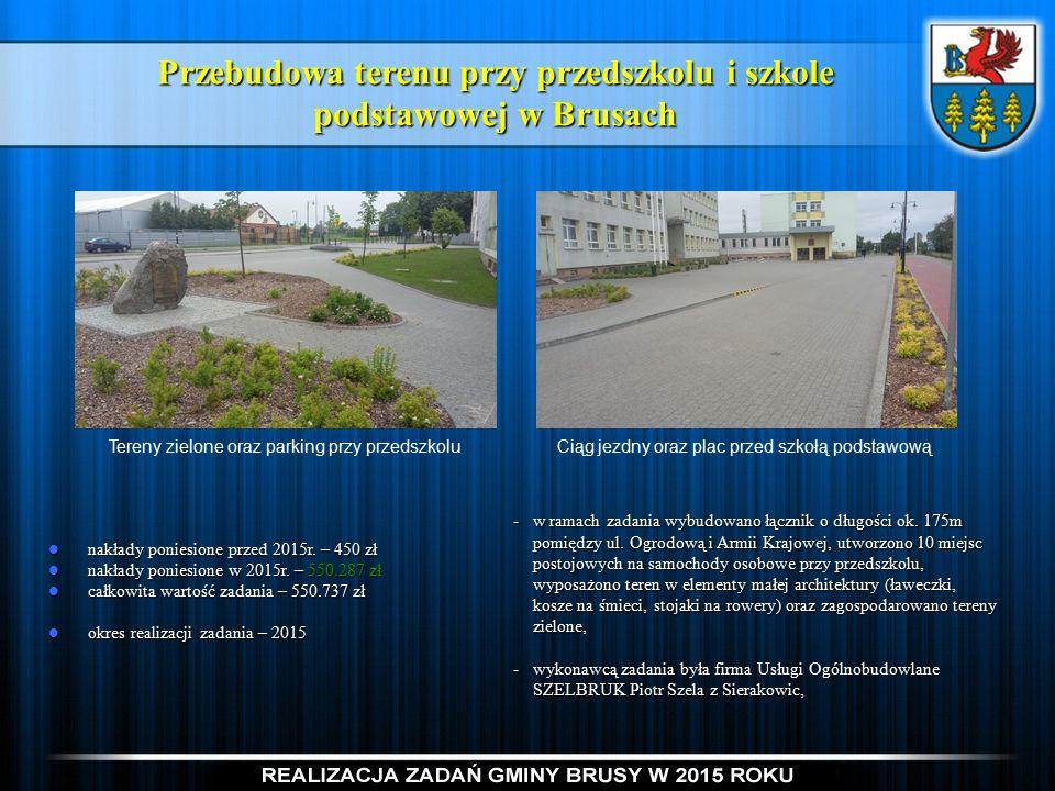 Przebudowa terenu przy przedszkolu i szkole podstawowej w Brusach nakłady poniesione przed 2015r.