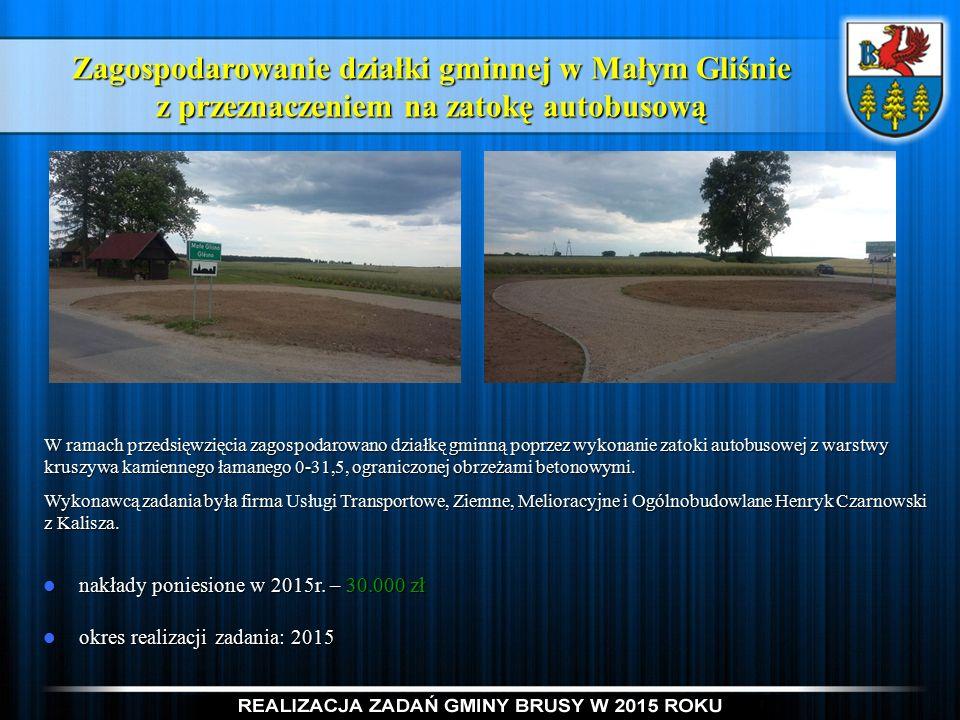 Zagospodarowanie działki gminnej w Małym Gliśnie z przeznaczeniem na zatokę autobusową nakłady poniesione w 2015r.