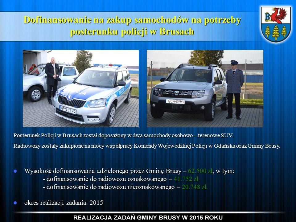 Dofinansowanie na zakup samochodów na potrzeby posterunku policji w Brusach Posterunek Policji w Brusach został doposażony w dwa samochody osobowo – terenowe SUV.