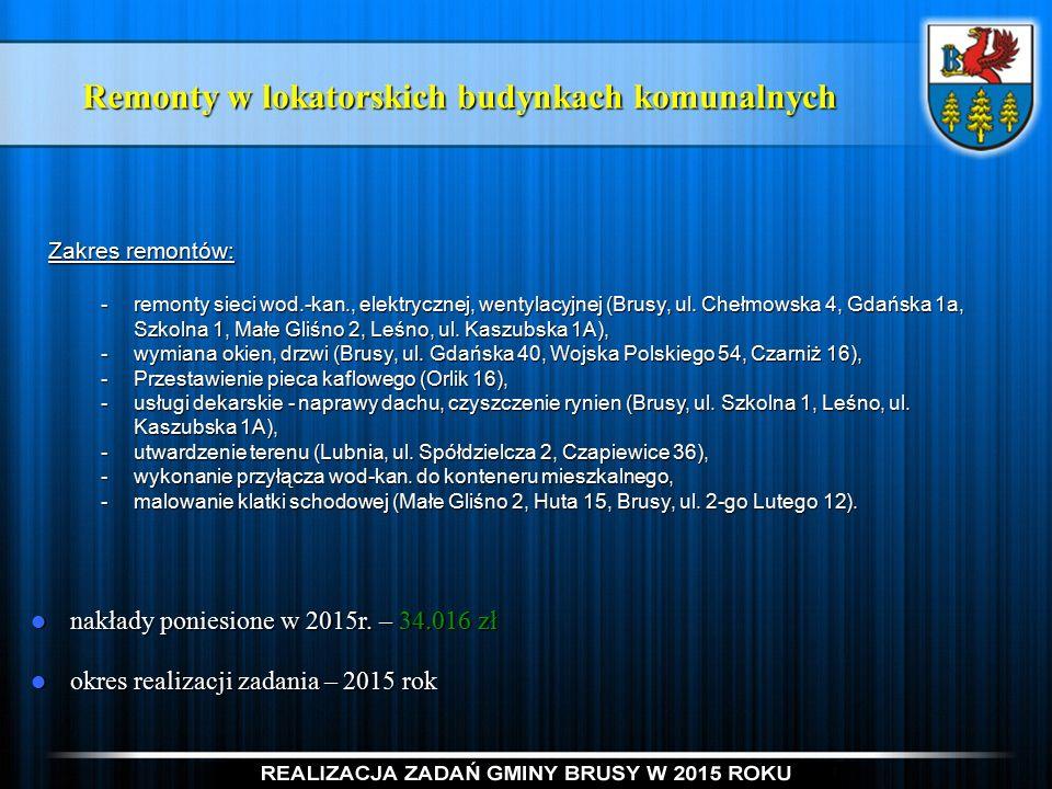 Remonty w lokatorskich budynkach komunalnych Zakres remontów: -remonty sieci wod.-kan., elektrycznej, wentylacyjnej (Brusy, ul.