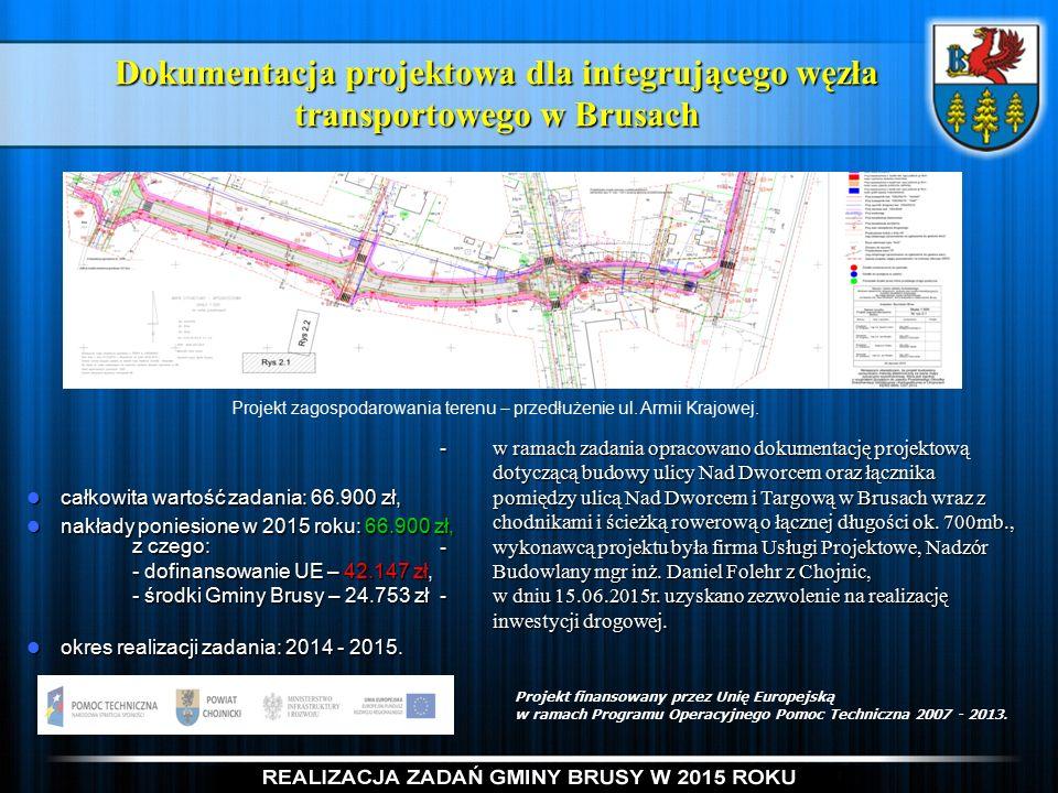 Dokumentacja projektowa dla integrującego węzła transportowego w Brusach -w ramach zadania opracowano dokumentację projektową dotyczącą budowy ulicy Nad Dworcem oraz łącznika pomiędzy ulicą Nad Dworcem i Targową w Brusach wraz z chodnikami i ścieżką rowerową o łącznej długości ok.