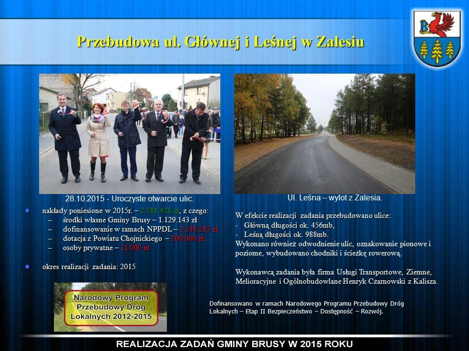 Przebudowa ul. Głównej i Leśnej w Zalesiu nakłady poniesione w 2015r.
