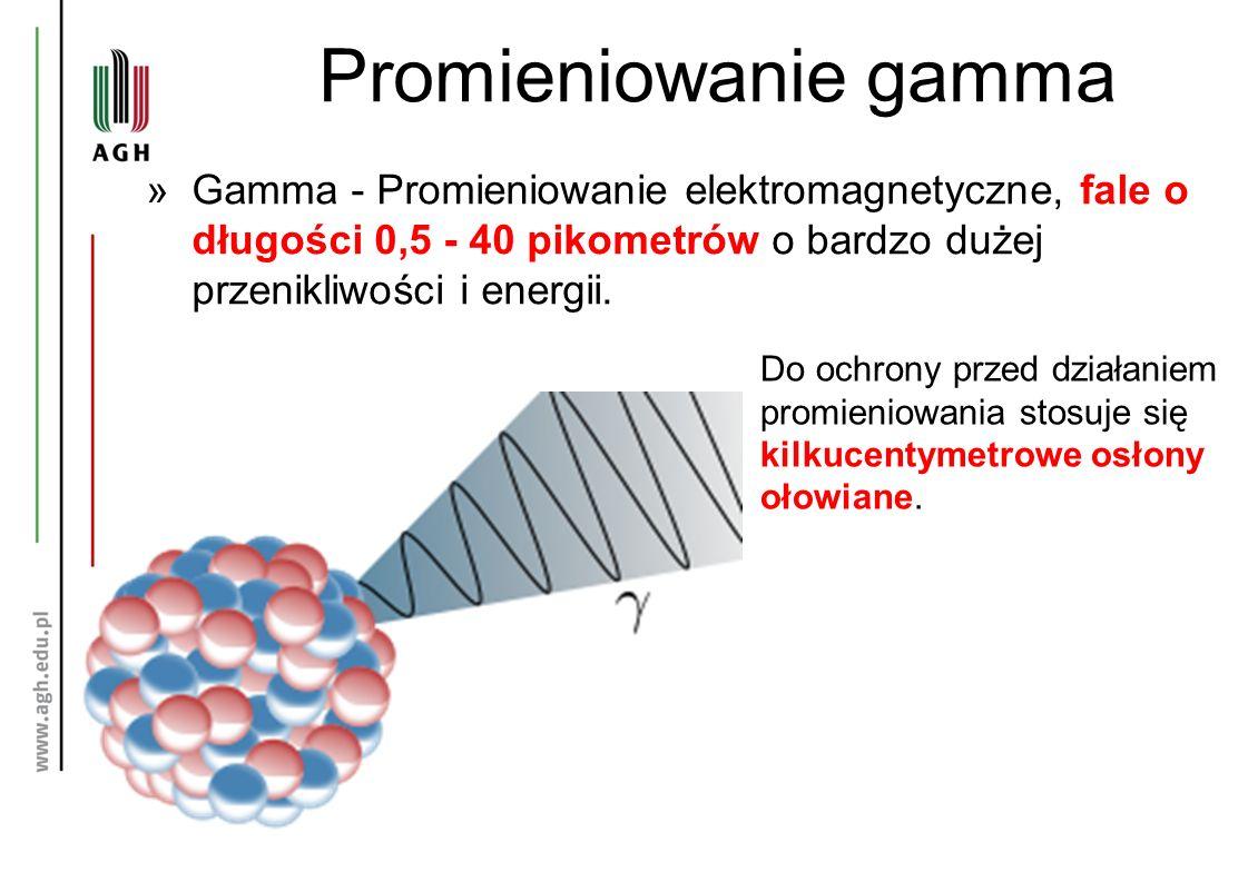 Promieniowanie gamma »Gamma - Promieniowanie elektromagnetyczne, fale o długości 0,5 - 40 pikometrów o bardzo dużej przenikliwości i energii. Do ochro