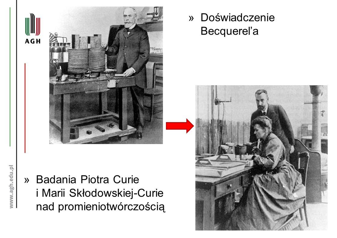 »Doświadczenie Becquerel'a »Badania Piotra Curie i Marii Skłodowskiej-Curie nad promieniotwórczością