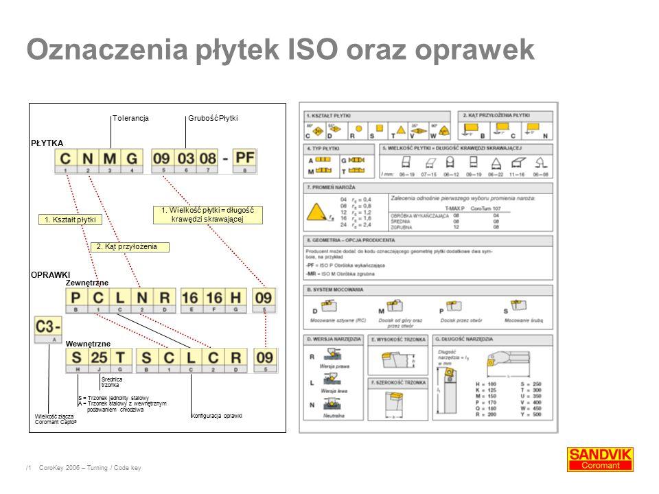 /1 Oznaczenia płytek ISO oraz oprawek TolerancjaGrubość Płytki 1.