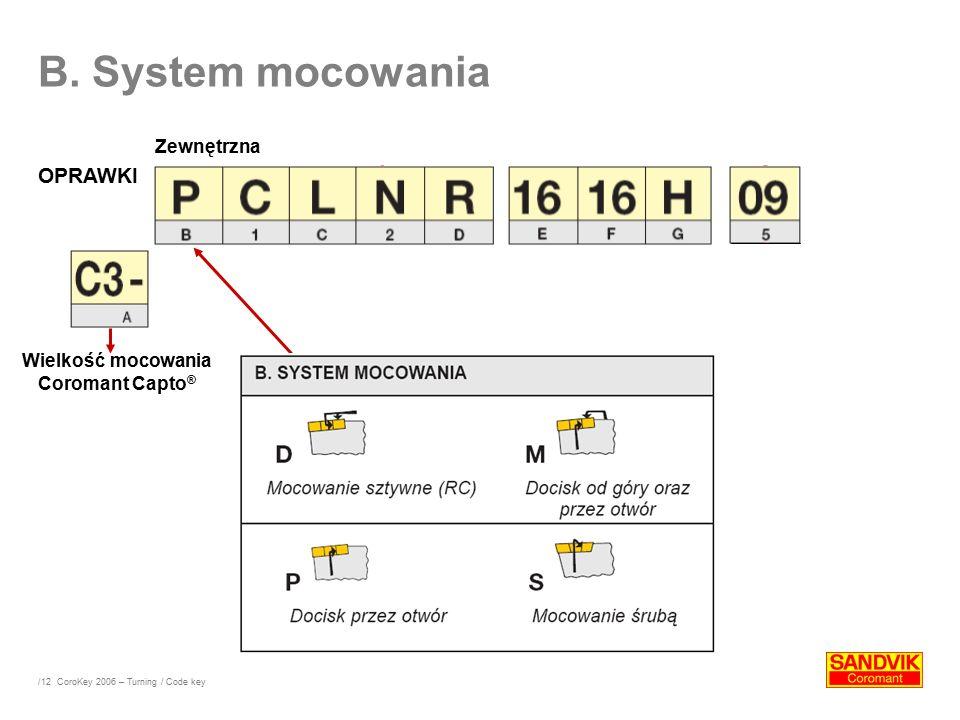 /12 B. System mocowania OPRAWKI Wielkość mocowania Coromant Capto ® Zewnętrzna CoroKey 2006 – Turning / Code key
