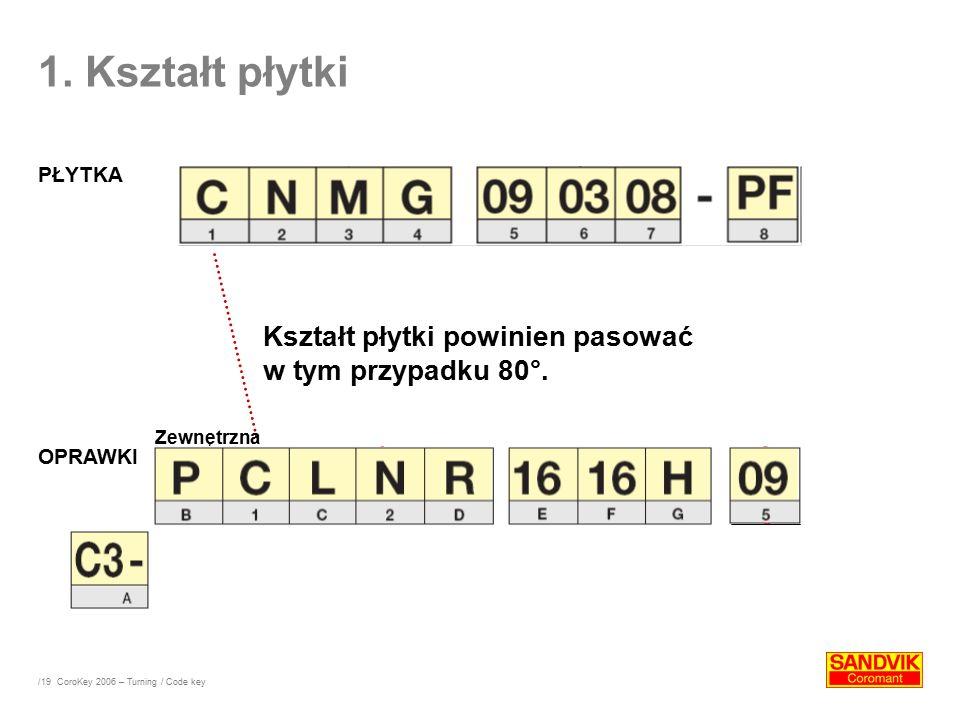 /19 Kształt płytki powinien pasować w tym przypadku 80°. OPRAWKI Zewnętrzna 1. Kształt płytki PŁYTKA CoroKey 2006 – Turning / Code key