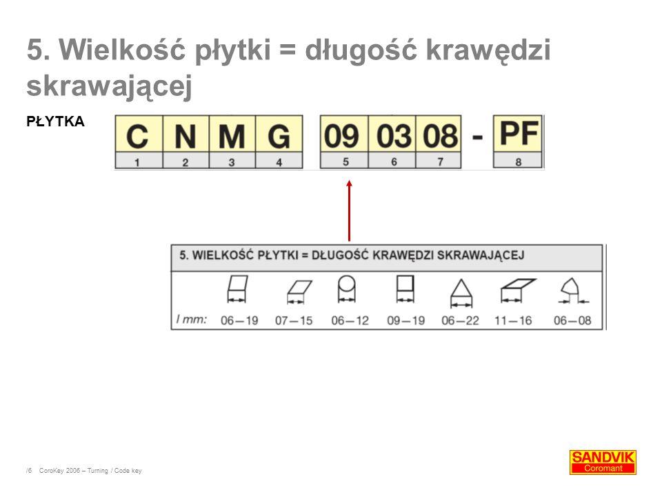 /6 5. Wielkość płytki = długość krawędzi skrawającej PŁYTKA CoroKey 2006 – Turning / Code key