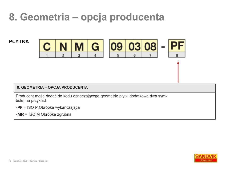 /9 8. Geometria – opcja producenta PŁYTKA CoroKey 2006 – Turning / Code key