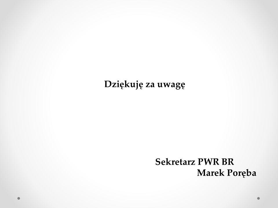Dziękuję za uwagę Sekretarz PWR BR Marek Poręba