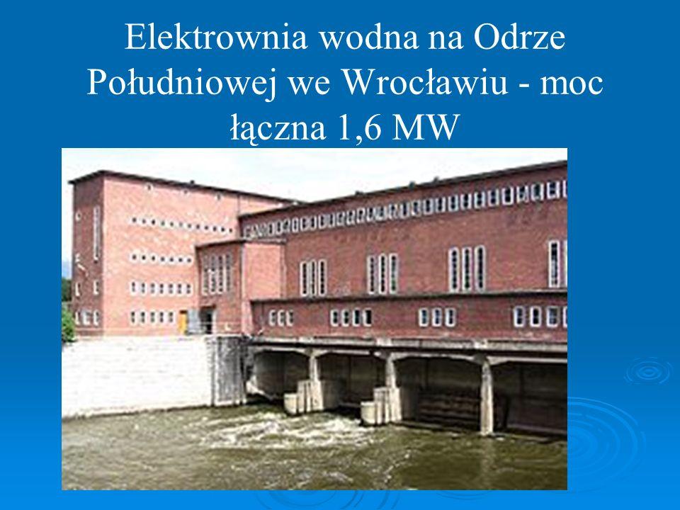 Elektrownia wodna na Odrze Południowej we Wrocławiu - moc łączna 1,6 MW