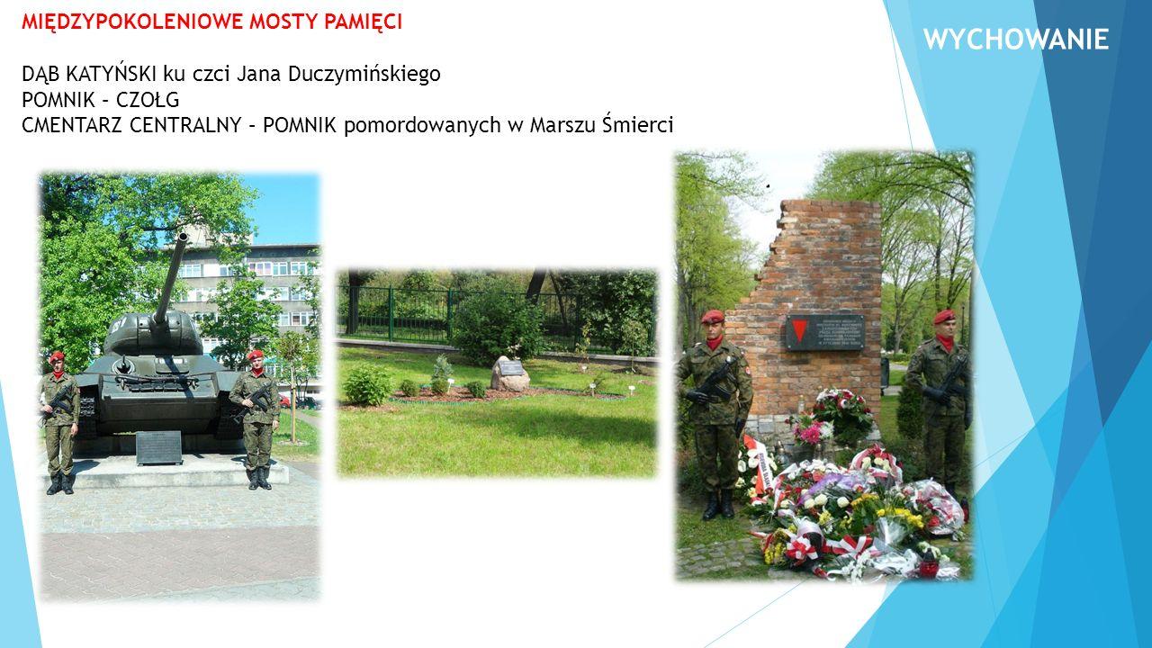 MIĘDZYPOKOLENIOWE MOSTY PAMIĘCI DĄB KATYŃSKI ku czci Jana Duczymińskiego POMNIK – CZOŁG CMENTARZ CENTRALNY – POMNIK pomordowanych w Marszu Śmierci