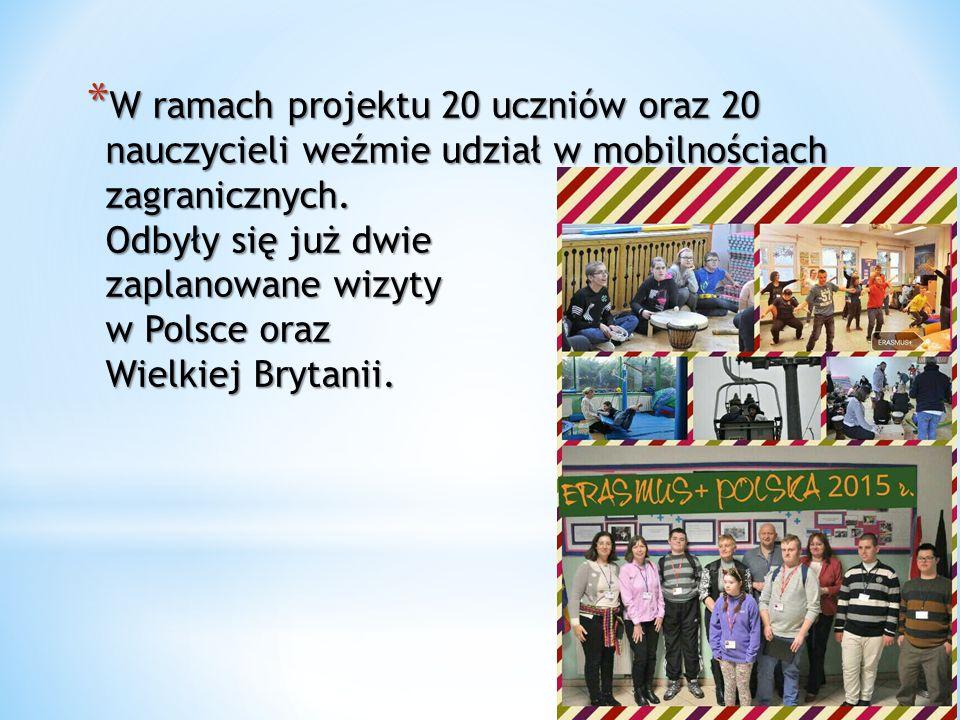 * W ramach projektu 20 uczniów oraz 20 nauczycieli weźmie udział w mobilnościach zagranicznych.
