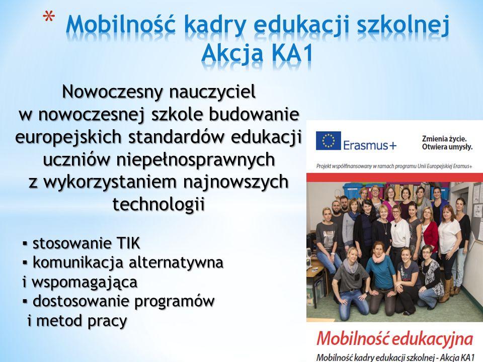 ▪ stosowanie TIK ▪ komunikacja alternatywna i wspomagająca ▪ dostosowanie programów i metod pracy Nowoczesny nauczyciel w nowoczesnej szkole budowanie europejskich standardów edukacji uczniów niepełnosprawnych z wykorzystaniem najnowszych technologii