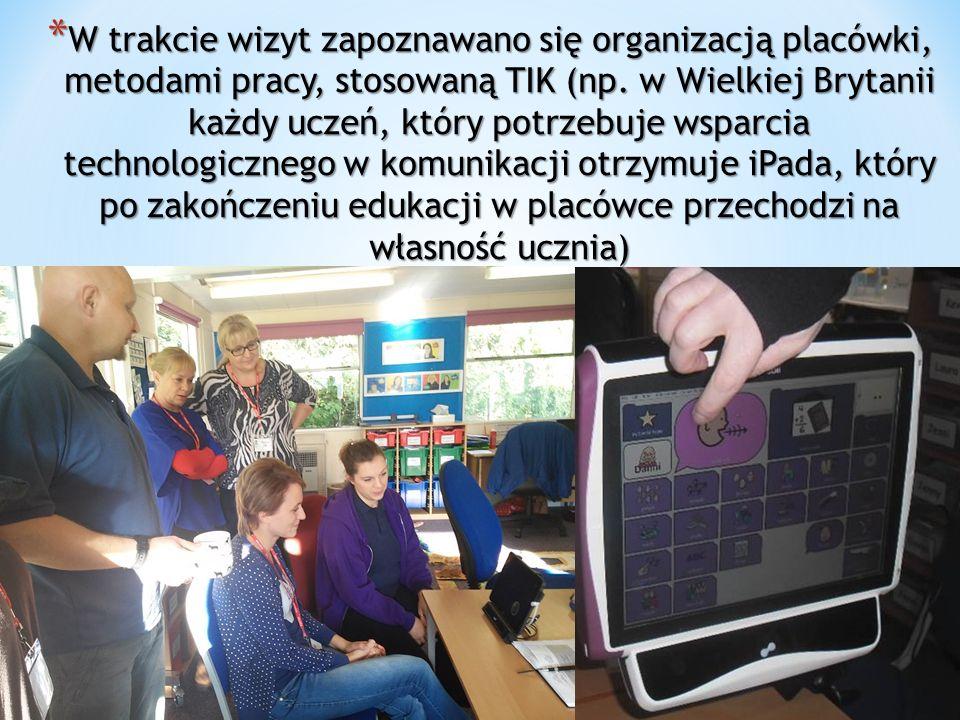 * W trakcie wizyt zapoznawano się organizacją placówki, metodami pracy, stosowaną TIK (np.