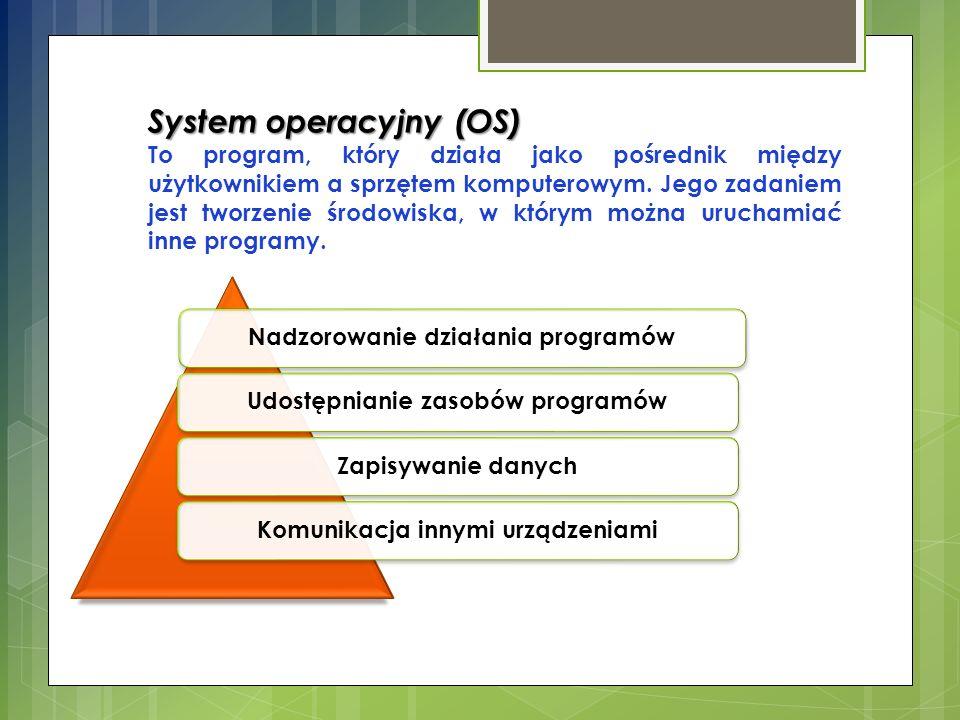 System operacyjny (OS) To program, który działa jako pośrednik między użytkownikiem a sprzętem komputerowym. Jego zadaniem jest tworzenie środowiska,