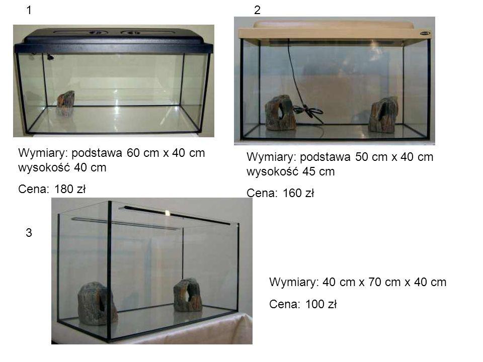 Wymiary: podstawa 60 cm x 40 cm wysokość 40 cm Cena: 180 zł Wymiary: podstawa 50 cm x 40 cm wysokość 45 cm Cena: 160 zł Wymiary: 40 cm x 70 cm x 40 cm Cena: 100 zł 12 3